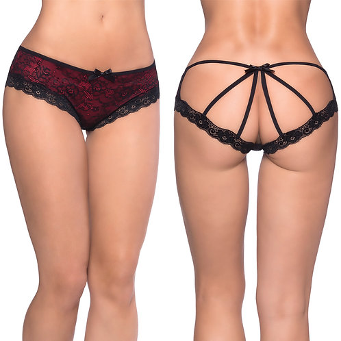 Caged Back Open Crotch Lace Panty