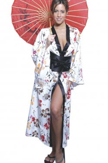 Floral print charmeuse fitted long kimono