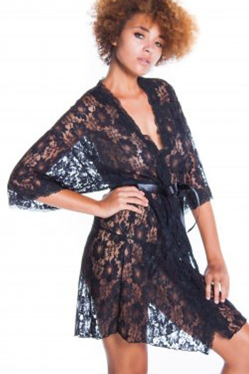 Lace short wrap robe set with lace trims cuffs