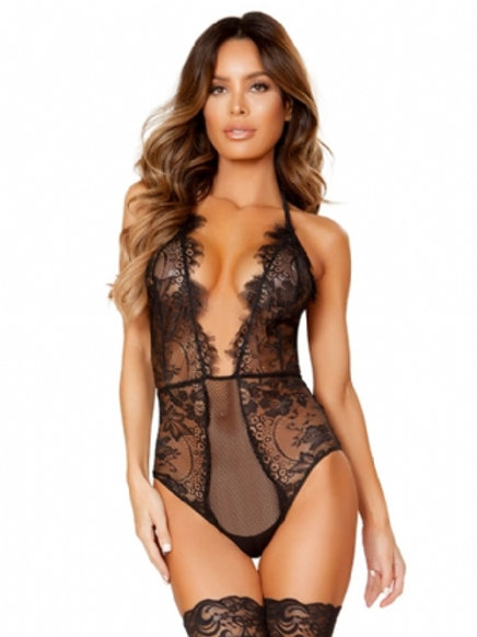 Black Deep V Exquisite Lace Teddy