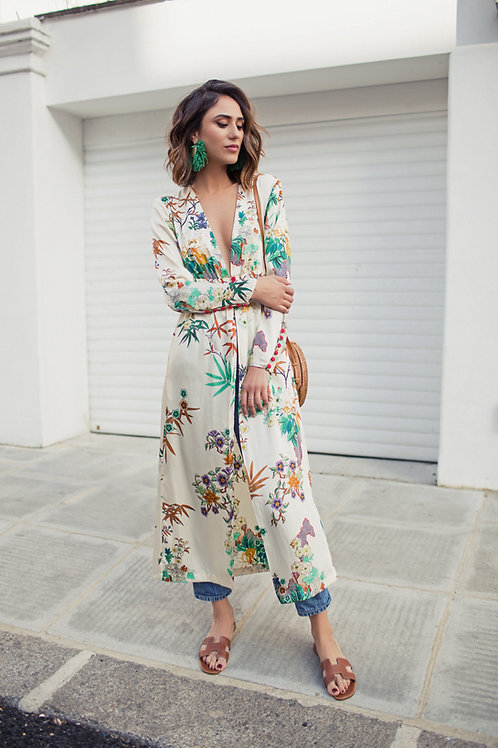 Button Floral Kimono Long