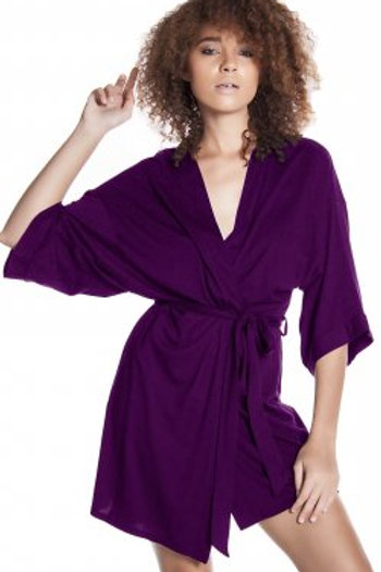Stretch modal short kimono wrap robe with attached belt