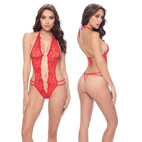 Lace Crotchless Teddy-Red