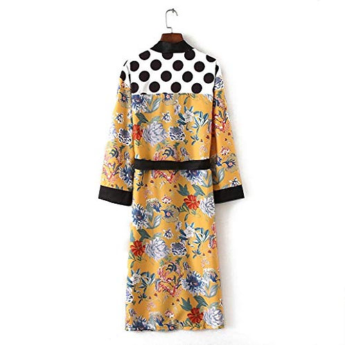 Long Printed Belted Kimono