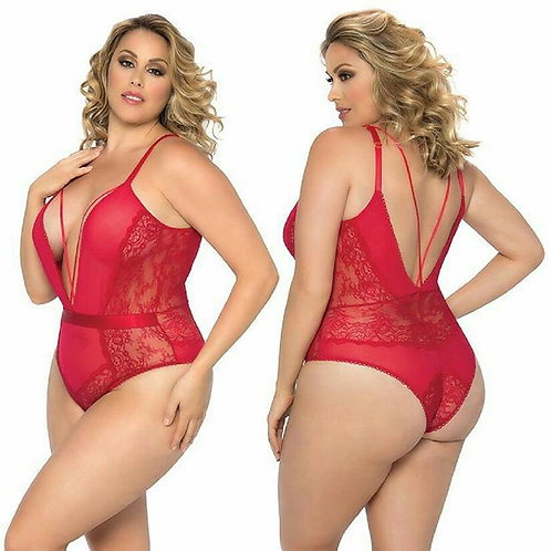 Viviane V-Plunge Lace Teddy With Strap Detail