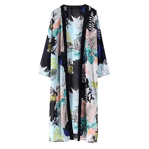 Blue Sheer Printed Kimono
