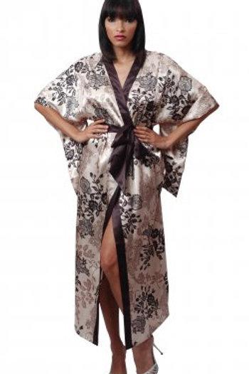 Printed charmeuse long kimono with big sleeves