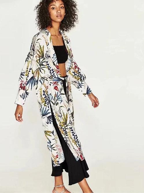 Printed Floral White Kimono