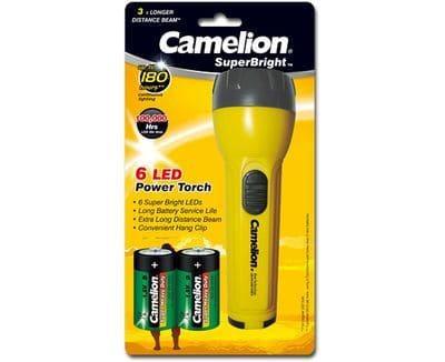 6-LED-Taschenlampe inkl. 2 D Mono Batterien