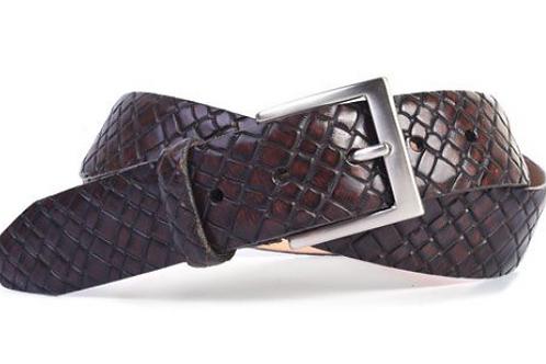 Martin Dingman Carlson Print Leather Belt