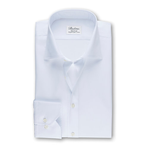 Stenstroms White Fitted Body Superior Twill Dress Shirt