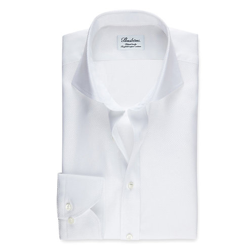 Stenstroms White Textured Fitted Body Shirt