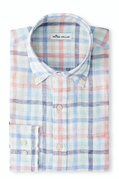 Peter Millar Silver Sands Linen Sport Shirt