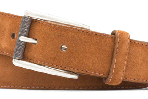 W. Kleinberg Suede Belt with Nickel Roller Buckle