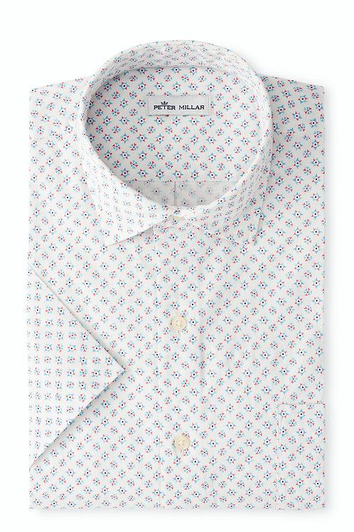 Peter Millar Shark Tooth Pinwheel Cotton-Blend Sport Shirt