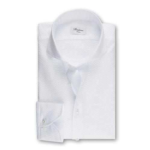 Stenstroms Seersucker Slimline Shirt White