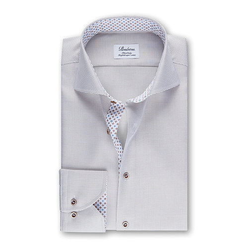 Stenstroms Micro Pattern Fitted Body Dress Shirt