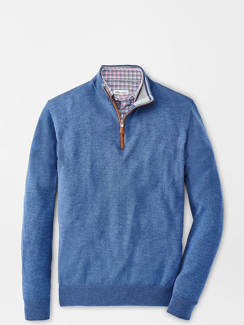 Peter Millar Crown Soft Suede Trim Quarter-Zip Sweater