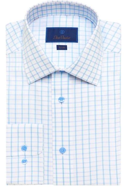 David Donahue White & Seafoam Textured Check Dress Shirt