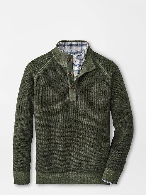 Peter Millar Waffle Stitch Button Mock Sweater