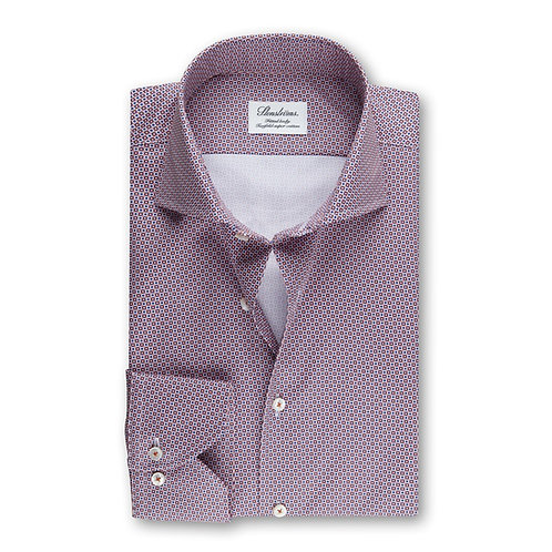 Stenstroms Geometric Patterned Fitted Body Shirt Red