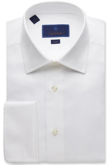 David Donahue Textured Pique French Cuff Dress Shirt