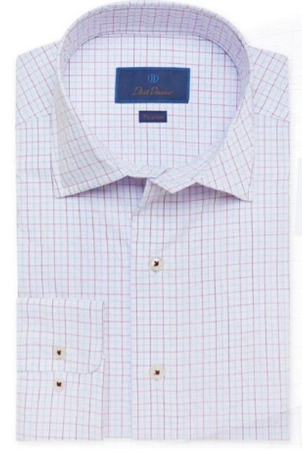 David Donahue White & Berry Textured Performance Shirt