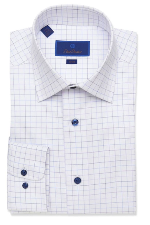 David Donahue White and Lilac Tattersall Dress Shirt