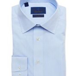 David Donahue White and Blue Striped Non-Iron Shirt