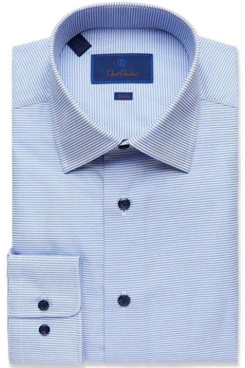 David Donahue Blue Textured Mini Check Dress Shirt