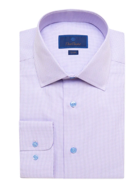 David Donahue Lilac Mini Houndstooth Dress Shirt