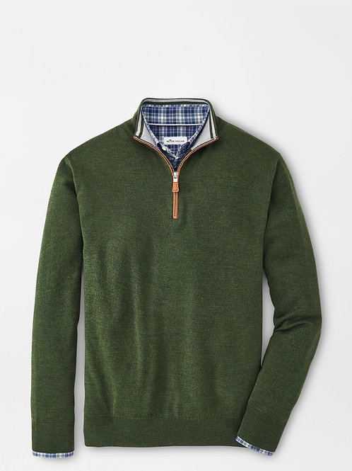 Peter Millar Crown Soft Suede Trim Quarter-Zip Sweater