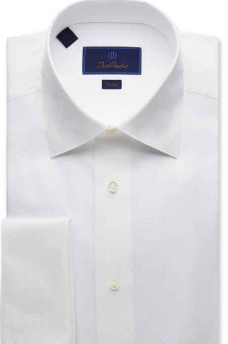 David Donahue Dobby Weave French Cuff Formal Shirt
