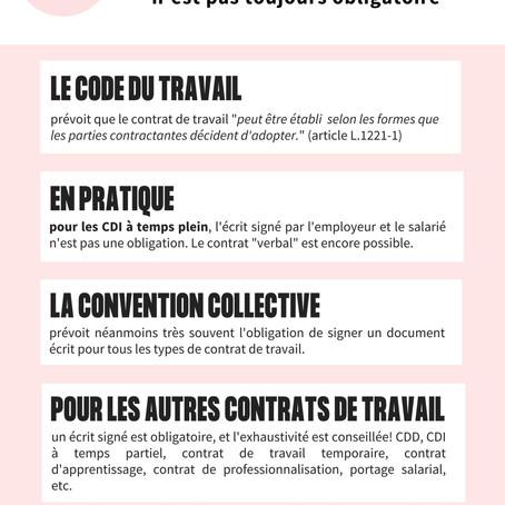 CONTRAT DE TRAVAIL : L'ÉCRIT N'EST PAS TOUJOURS OBLIGATOIRE