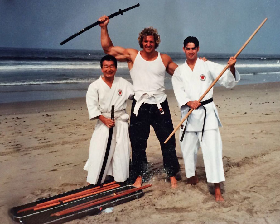 Sensei Yamazaki, Ralf Moeller (Conan), Jonathon 1997 - training for Conan @ Santa Monica CA