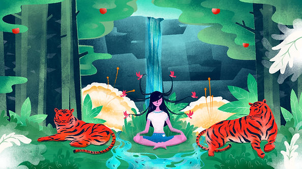 chamanisme La méditation dans la forêt