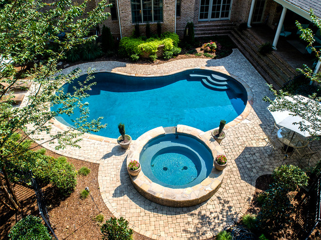 Arial of Pool & Hot Tub