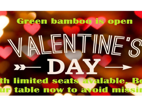We open this Valentine's day, with limited seats available, book your table now to avoid missing out