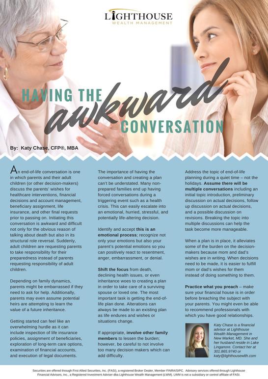 Having the Awkward Conversation | Financial Planner