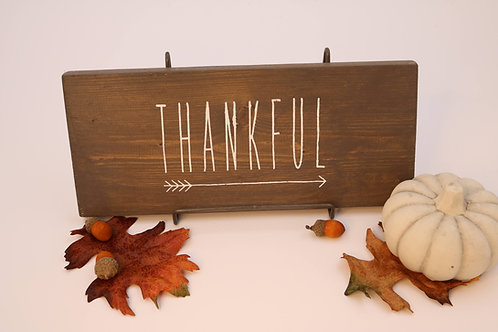 Hand Painted THANKFUL & Arrow Sign