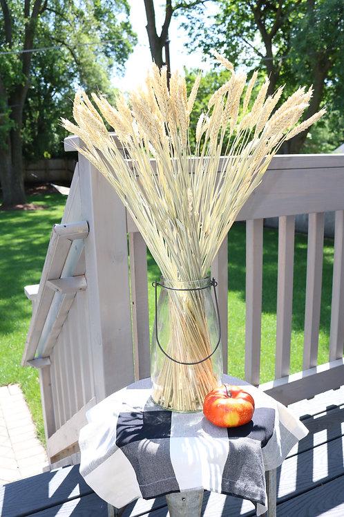 Vintage Glass Jug With Wheat Stalk Bouquet
