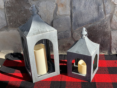 Weathered Silver Metal Lantern Set with LED Candles