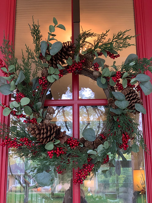 Eucalyptus, Pine and Red Berry Wreath