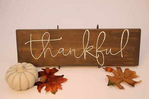 Hand Painted Thankful Wood Sign