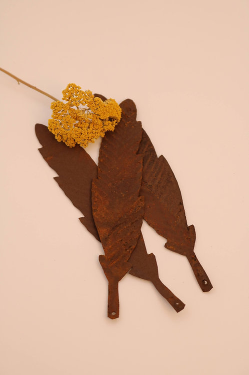 Rusty Metal Feathers set of 3