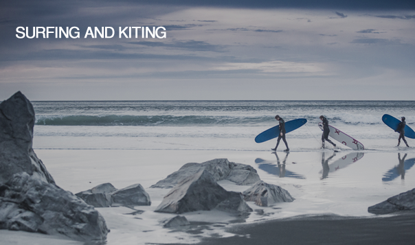 Surfing and kiting