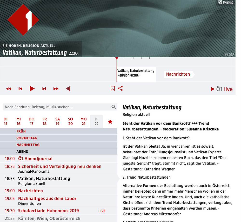 Ö1 berichtet über Klosterwald Wien Kahlenberg