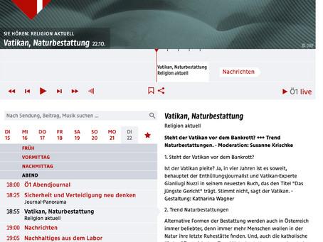 Ö1Radio - Mittagsjournal berichtet über Naturbestattung Klosterwald Wien Kahlenberg