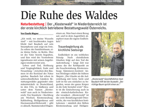 NÖN berichtet im Oktober 2020 ausführlich über die Waldbestattung im Klosterwald