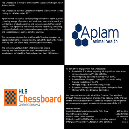 Apiam Animal Health Successfully Lists